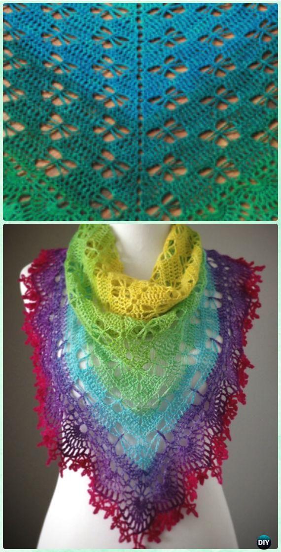 Crochet Schmetterling Stich Gebets-Schal-freies Muster - Crochet ...