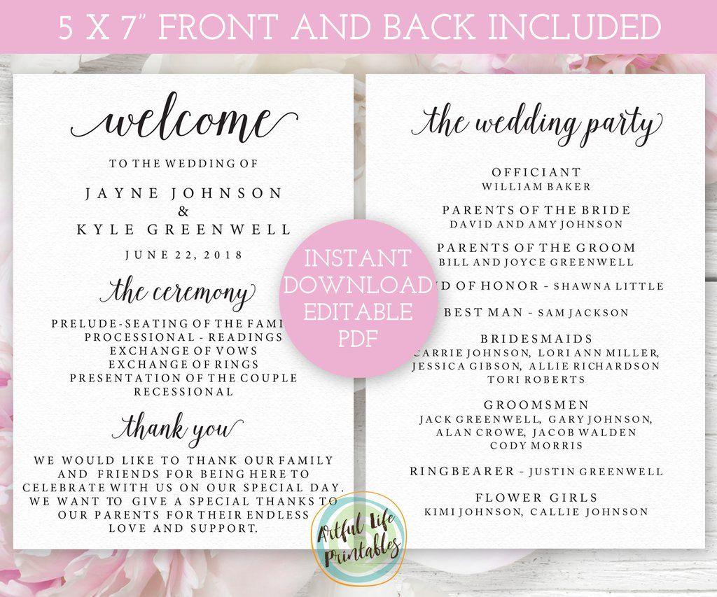 wedding program template 5 x 7 editable wedding ceremony program in