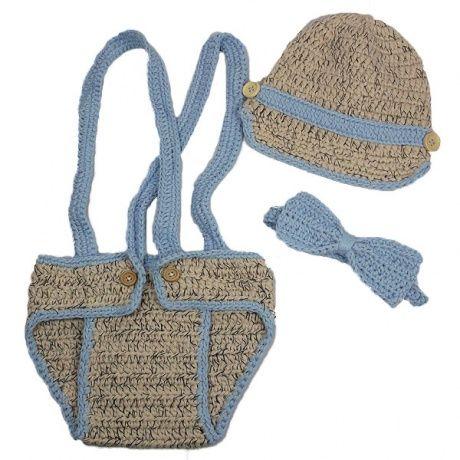 Conjunto de crochet con pajarita Conjunto de crochet para bebé niño con crubrepañal con tirantes, gorra y pajarita. Muy divertido para fotos de bebés y recién nacidos. 32,00 €