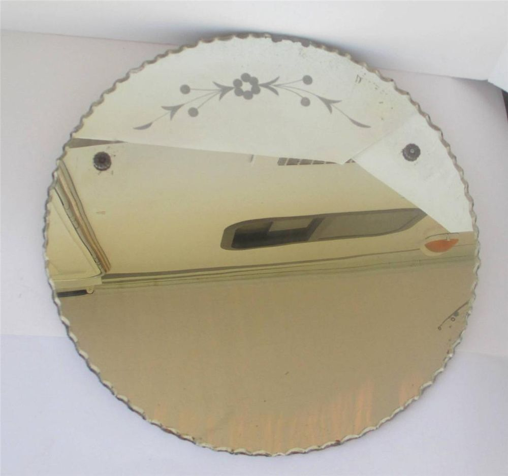Vintage Art Deco Round Wall Mirror With Etched Design And Pie Crust Edge Round Wall Mirror Vintage Art Deco Mirror Wall