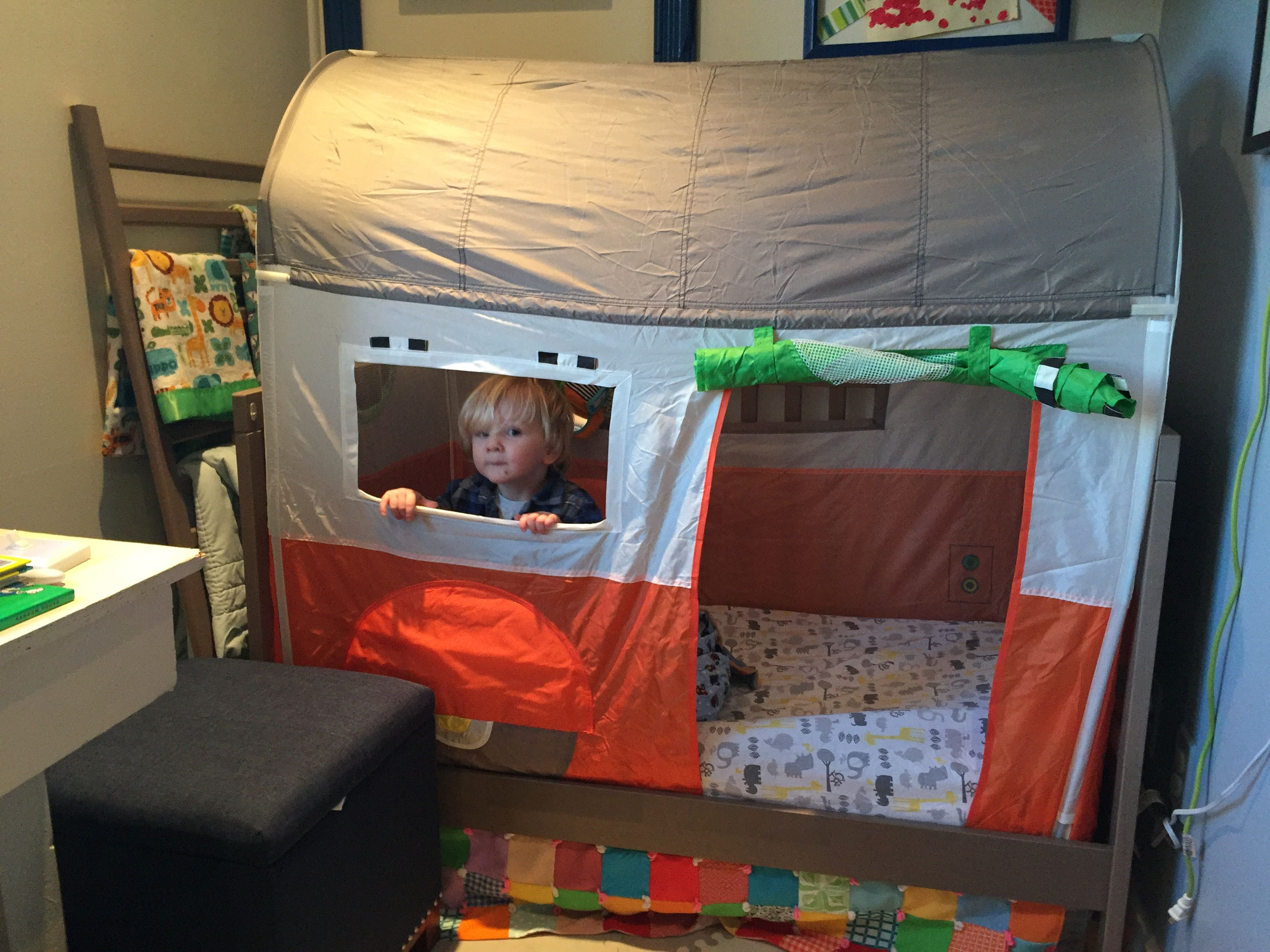 The Ikea Camper Trailer Tent Is Basically The Perfect Size For The Ikea Cribs So It Became A Fun Bed Cover For My Boys Ro Ikea Kids Tent Bed Tent Kids