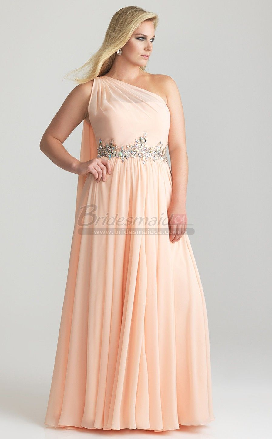 One shoulder chiffon long pearl pink plus size bridesmaid dress one shoulder chiffon long pearl pink plus size bridesmaid dress psdca 020 ombrellifo Images