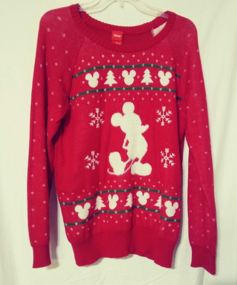 Details About Nwt Womens Ugly Christmas Sweater Disney Mickey Mouse