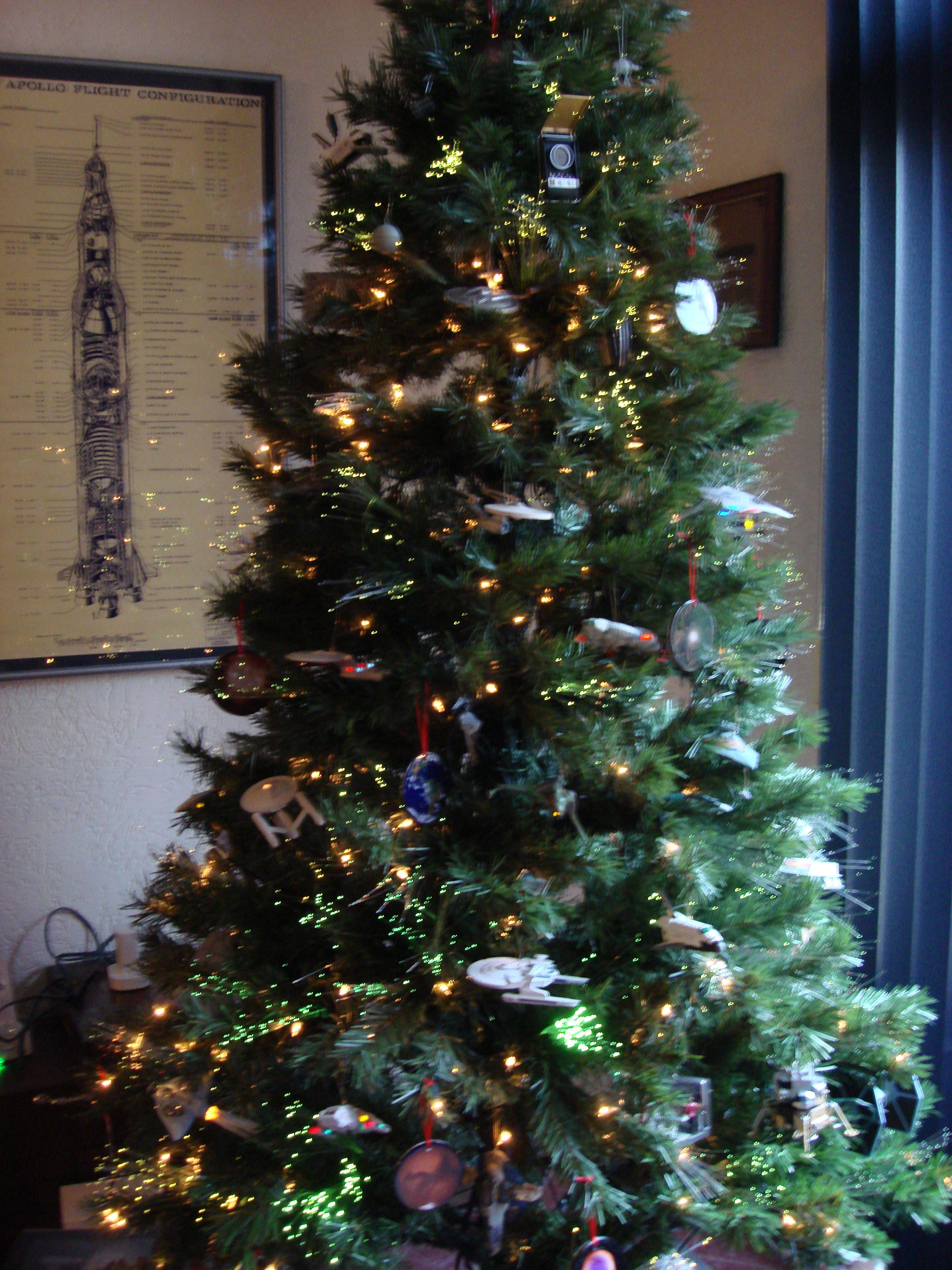 Our Star Trek Star Wars Tree In Joe S Home Office Christmas Tree Christmas Tree Themes Star Wars Christmas