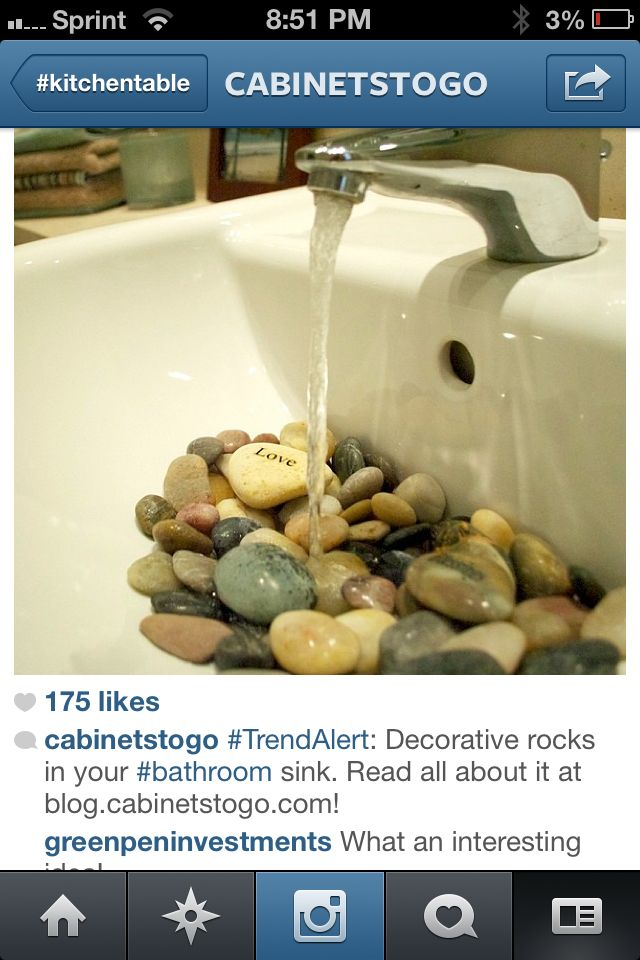 Rocks in the sink I love it
