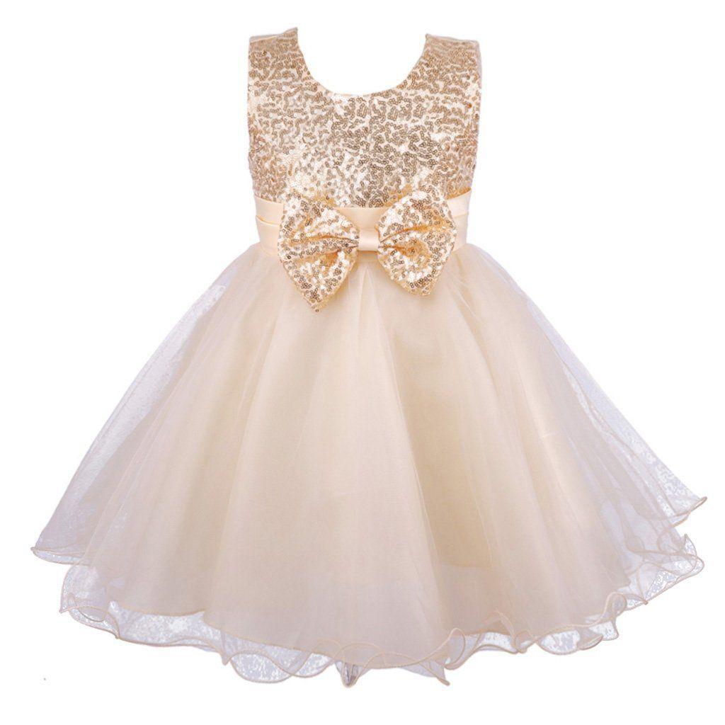 Girls Sequinned Dress Flower Sash Formal Party Wedding Bridesmaid Princess Dance