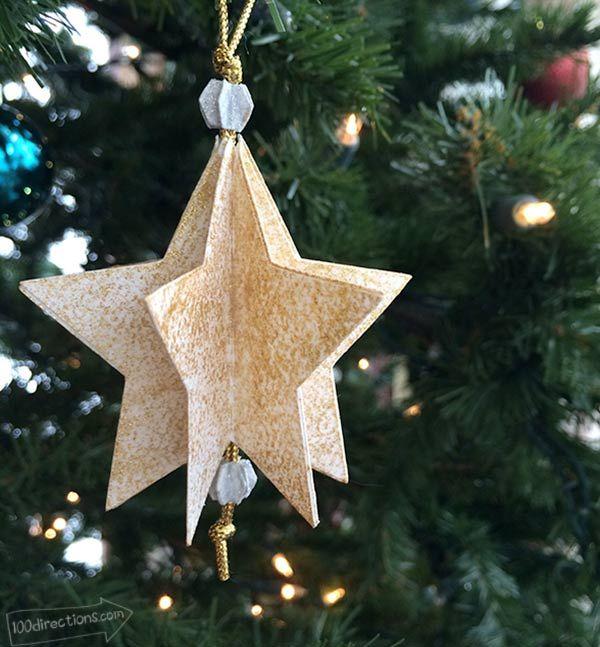 Make A Paper Star Ornament Star Ornament Paper Stars Christmas