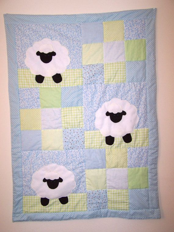 1e0902845 Hand Appliqued Lamb with Blue and Green Patchwork Baby Boy Quilt