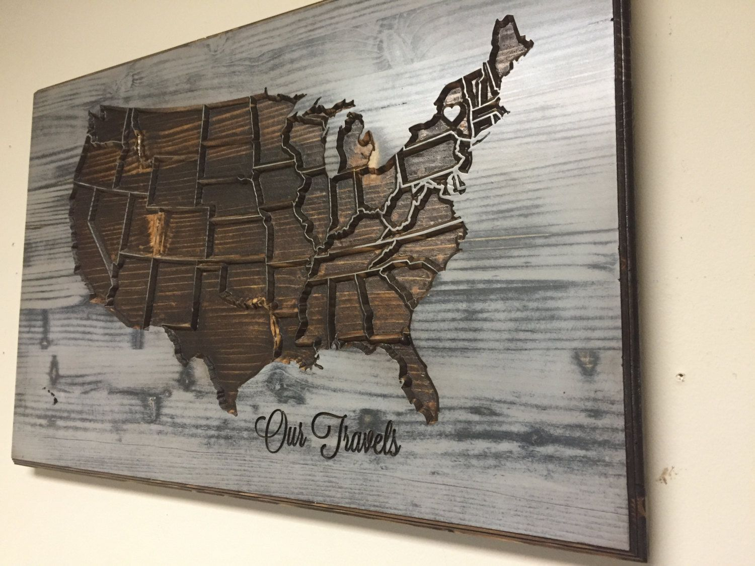 Personalized Wood Wall Art american map wall decor, wood wall art, carved, united states map