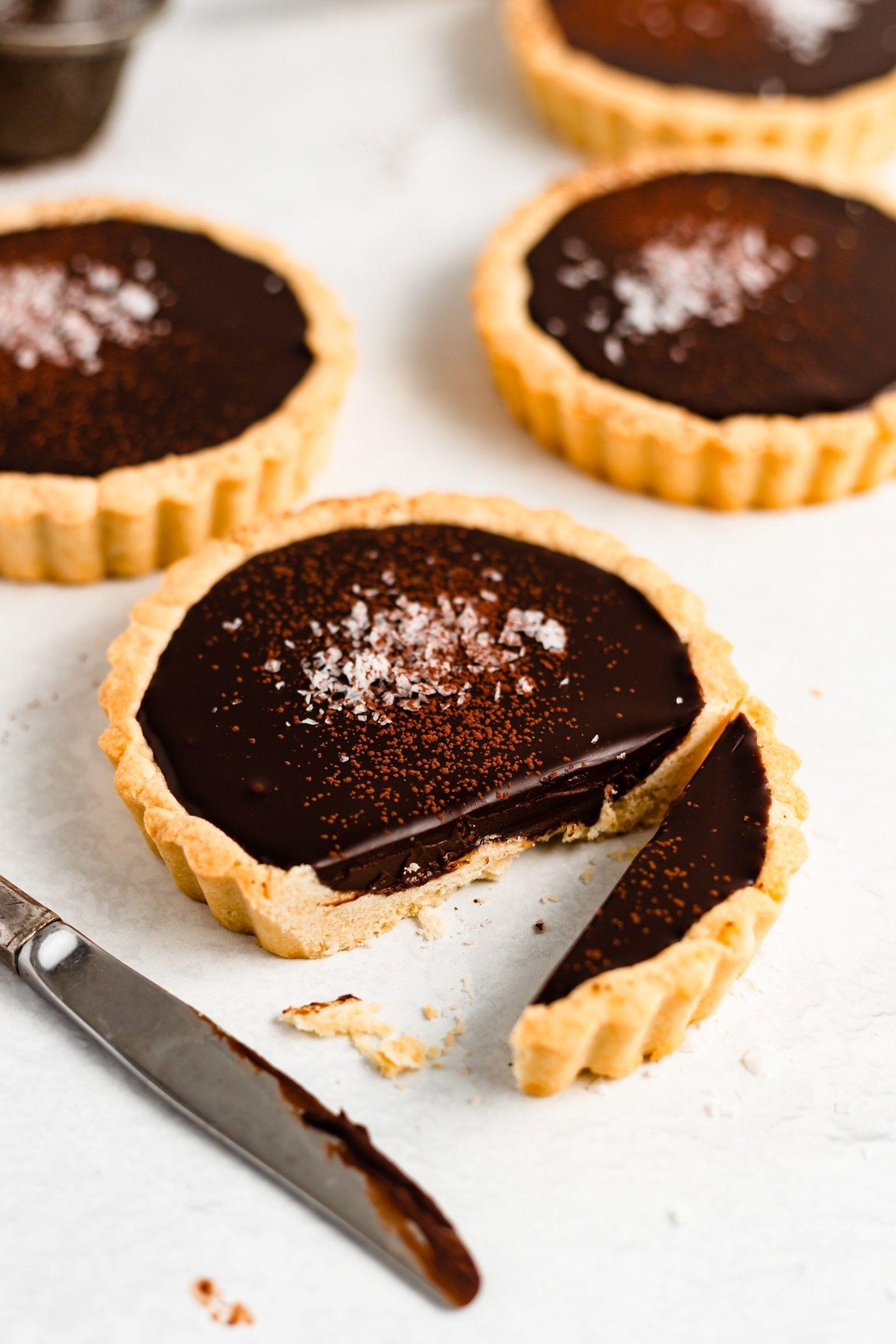 Mini Dark Chocolate Sea Salt Tarts Recipe Salted Chocolate
