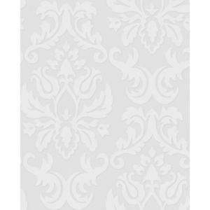 Graham U0026 Brown 56 Sq. Ft. Large Damask Paintable White Wallpaper