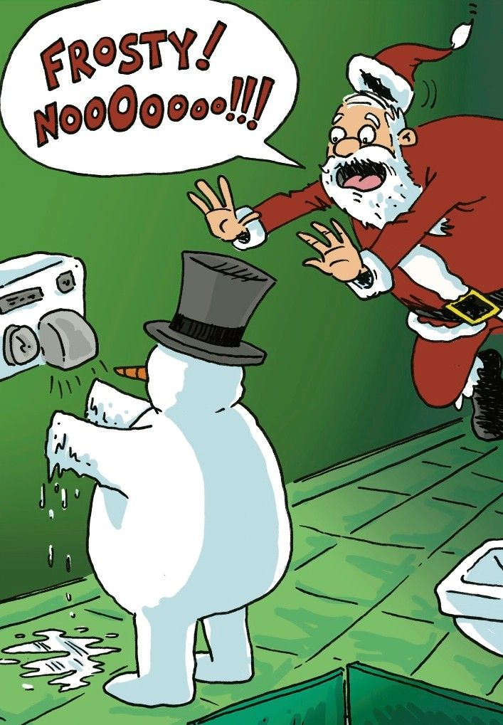 Christmas Humor Santa Tries To Save Frosty But Not In Time Christmasfunny Funny Christmas Pictures Funny Cartoons Christmas Humor