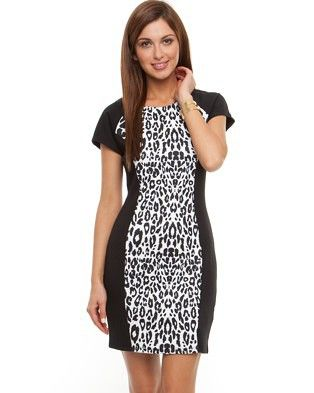 White leopard ponte dress