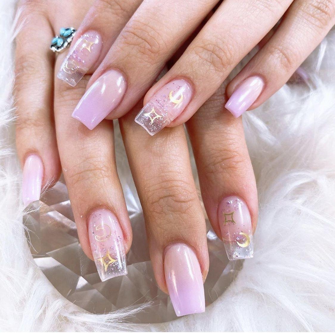 Lilac Nails Star And Moon In 2020 Lilac Nails Star Nail Designs Clear Nail Designs