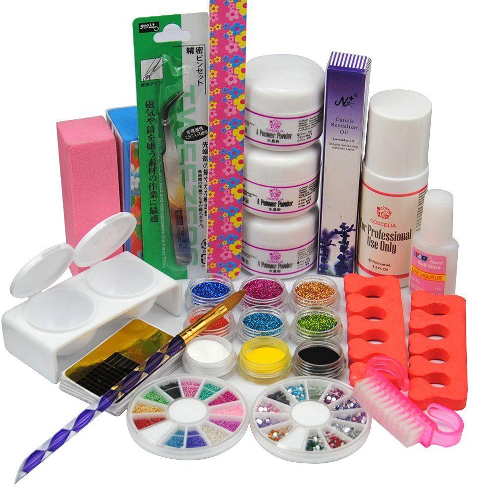Coscelia Colores Acrylic Powders Glitters Nail Art Sets For