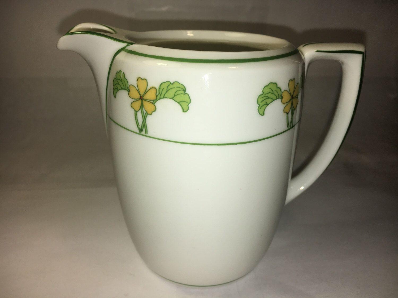 Antique creamer decorative green white dinnerware