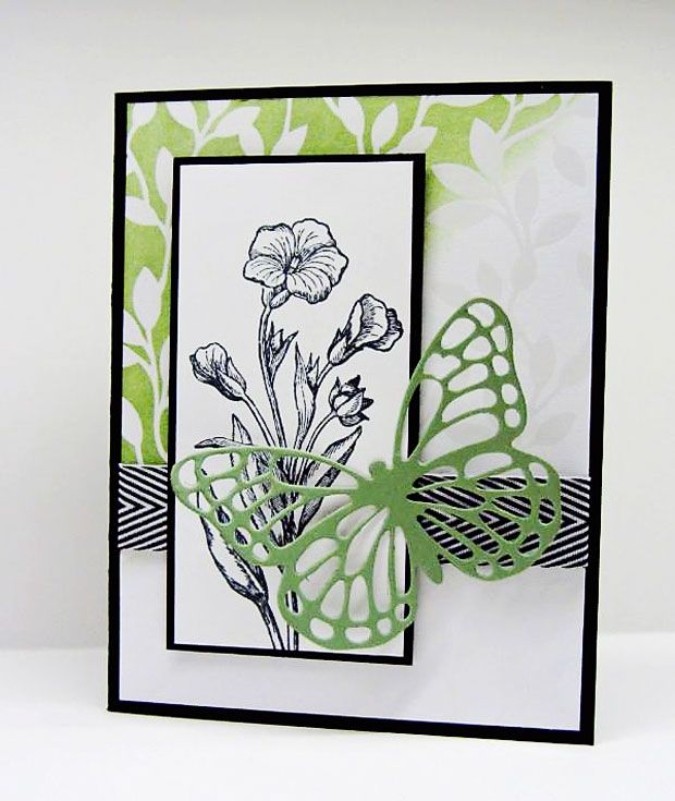 hand crafed card ... Butterfly Basics Bundle ... black and white with green .. luv the clean mod look ... Stampin' Up!