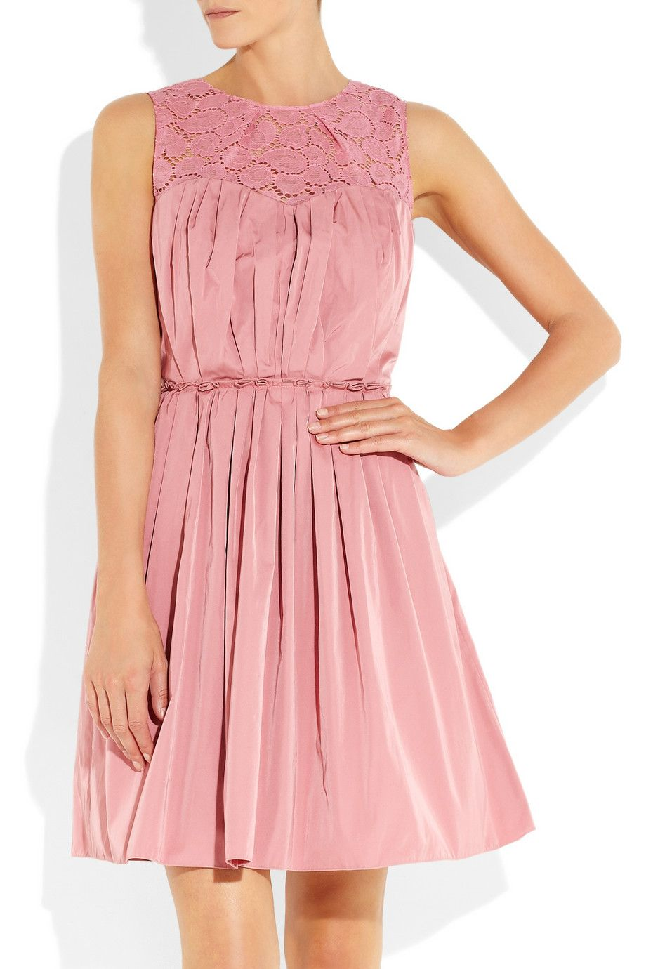 Nina Ricci | Taffeta and lace dress- luv the rose color and unique ...