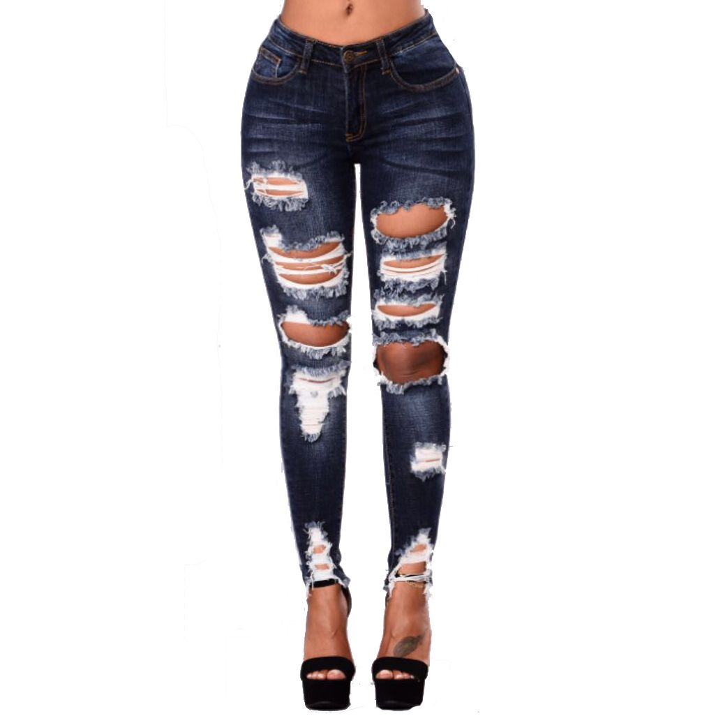 Womens Slim Stretchy Denim High Waisted Jeans Washed Jeans Pencil Pants Trousers