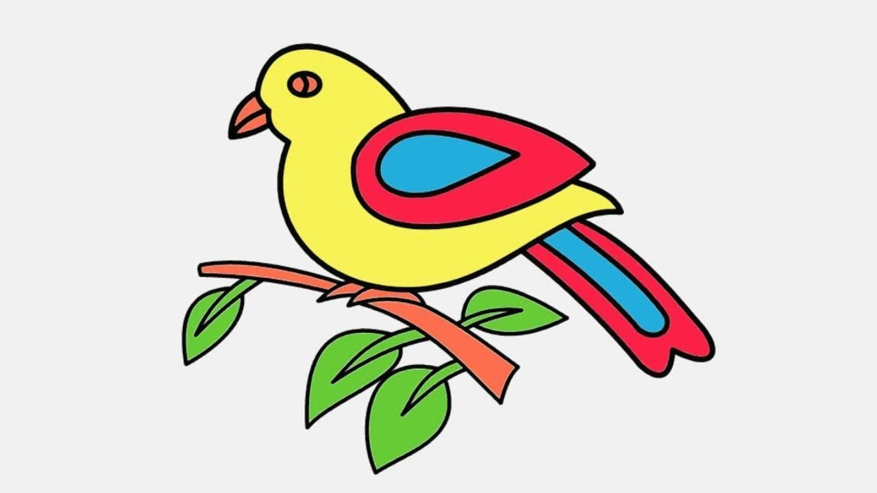 Drawing And Coloring Birds Coloring Page For Children Coloring Video For Kids Bird Coloring Pages Coloring Pages Bird Sketch