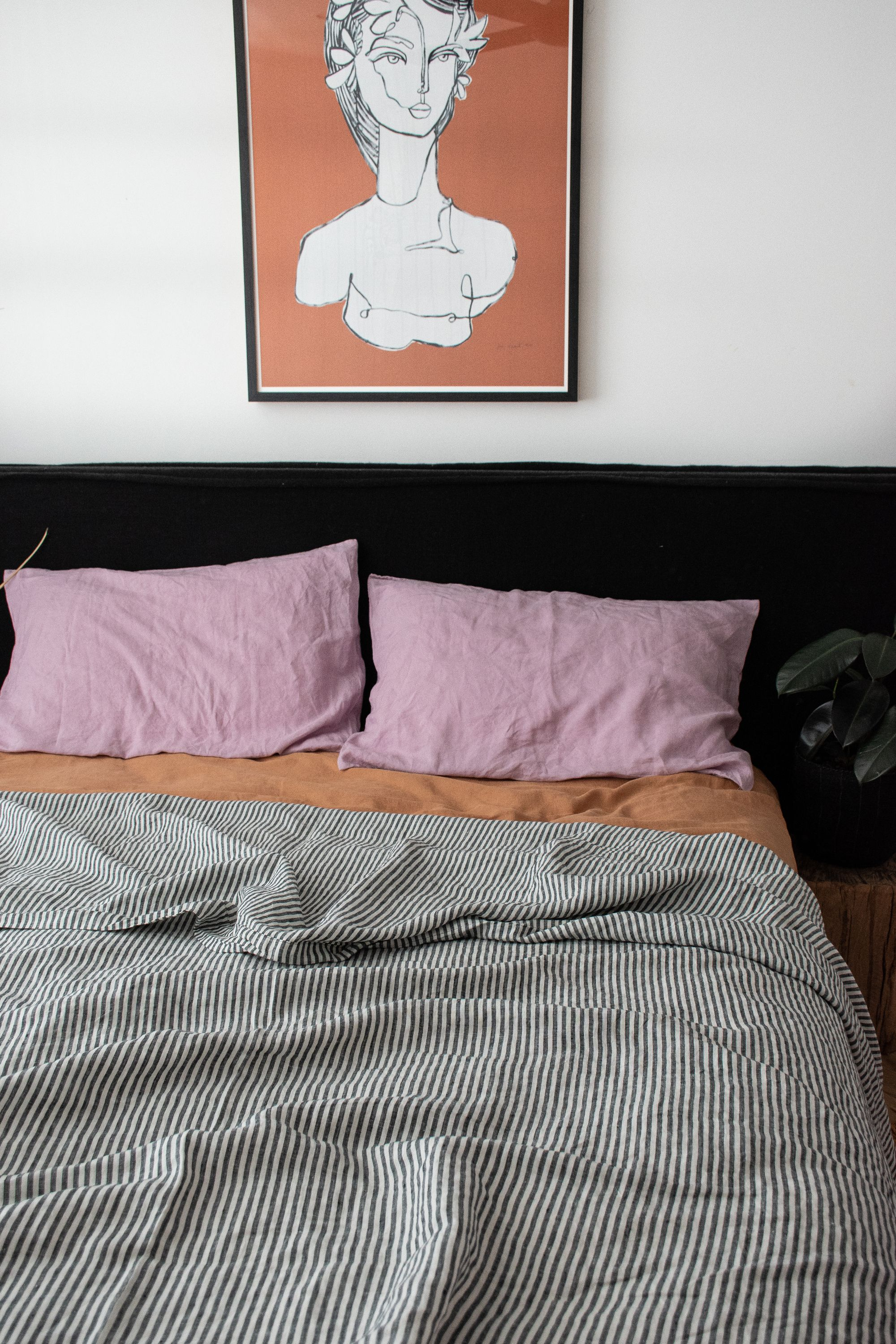 Charcoal Stripe, Lilac Sandalwood French Linen Bedding