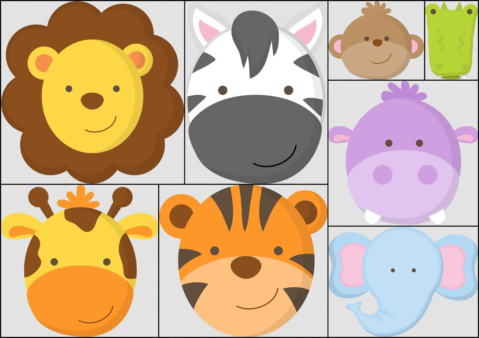 Caras de Bebés de la Jungla. | Invitaciones infantiles | Pinterest ...