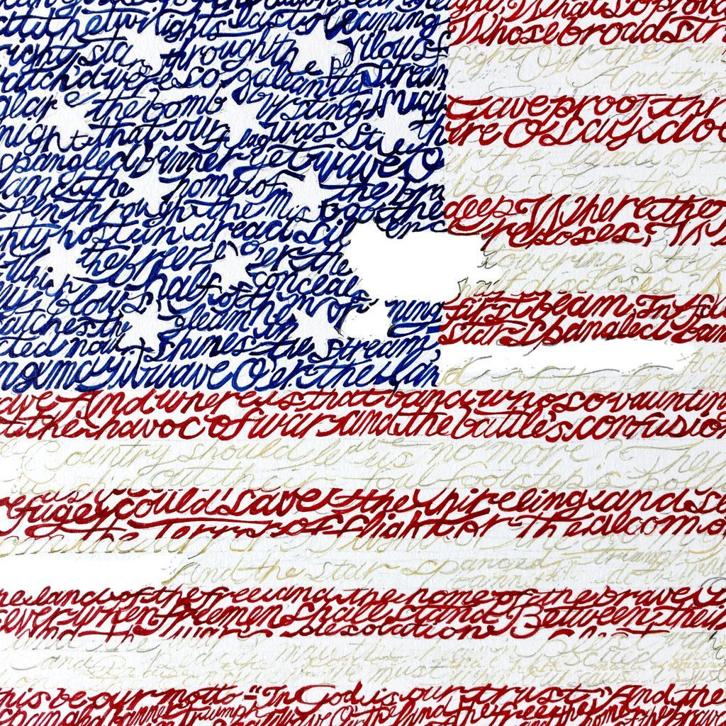 American Flag - National Anthem Word Art Print - 16\