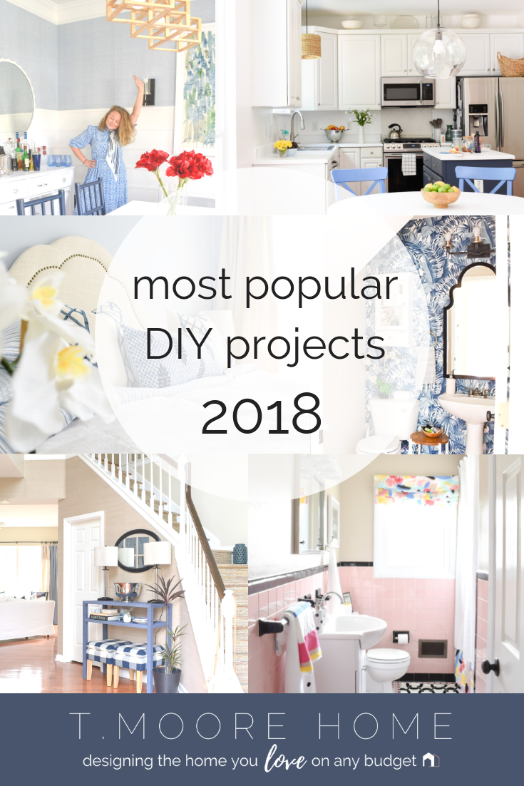 Top DIY Home Decor + Renovation Projects | From weekend bathroom makeovers to full-scale staircase reconstruction, 2018 was a busy year over at T. Moore Home.  In case you missed all the tutorials and money-saving DIY tips, I'm rounding up the most popular projects we tackled this year.   #diyrenovation #diyremodel #diyhomedecor #diy #decorideas #weekendprojects #cheaphomedecor #decorprojects #weekendmakeover #bathroominspo #onedayDIY #budgetdecor