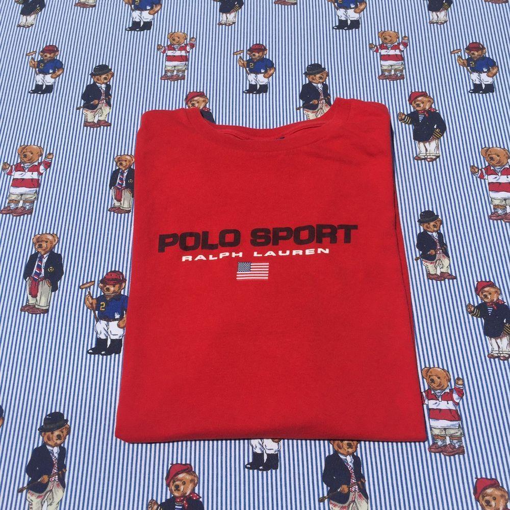 Vintage Polo Sport Ralph Lauren Spell out Flag 90 s Men s SZ L   Polo sport ralph  lauren and Polos 83ed11350dd9