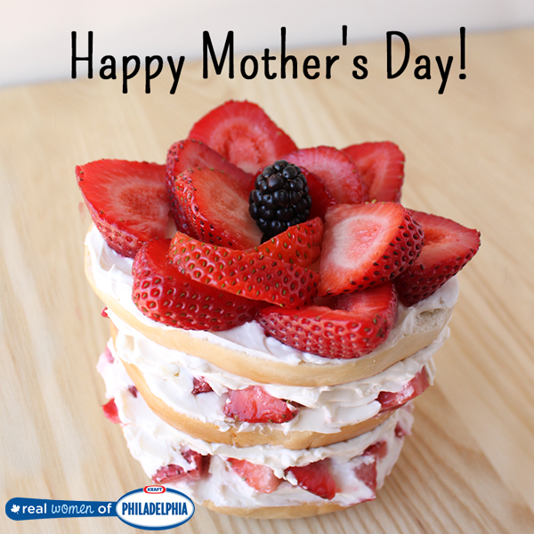 The ultimate Mother's Day bagel topped with a fresh flower made of strawberries! #breakfast #brunch #food