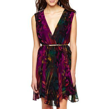 Belted Chiffon Studded-Shoulder Dress - jcpenney | My Style | Pinterest