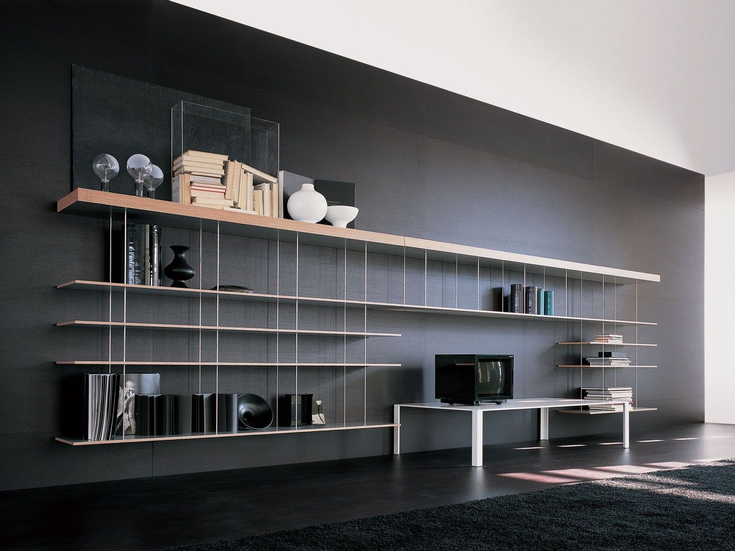 biblioth que suspendue en acier et bois graduate by molteni c design jean nouvel dekor. Black Bedroom Furniture Sets. Home Design Ideas