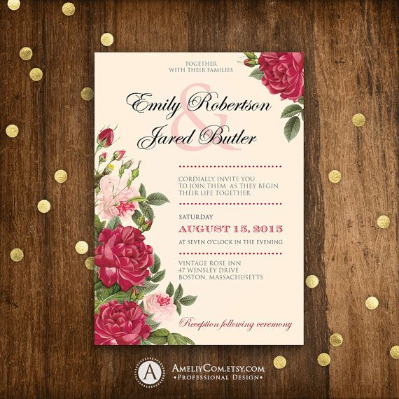 Printable Wedding Invitation Burgundy And Blush Pink Roses Weddings Invite Templ Printable Wedding Invitations Wedding Invitations Diy Pink Wedding Invitations
