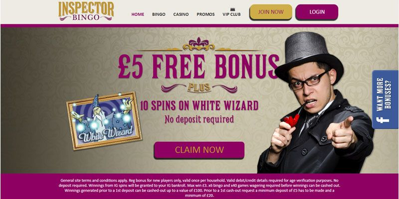 Inspector Bingo Offers 5 And 10 Spins No Deposit Bonus Plus 200 First Is Powered By Dragonfish Software Play At
