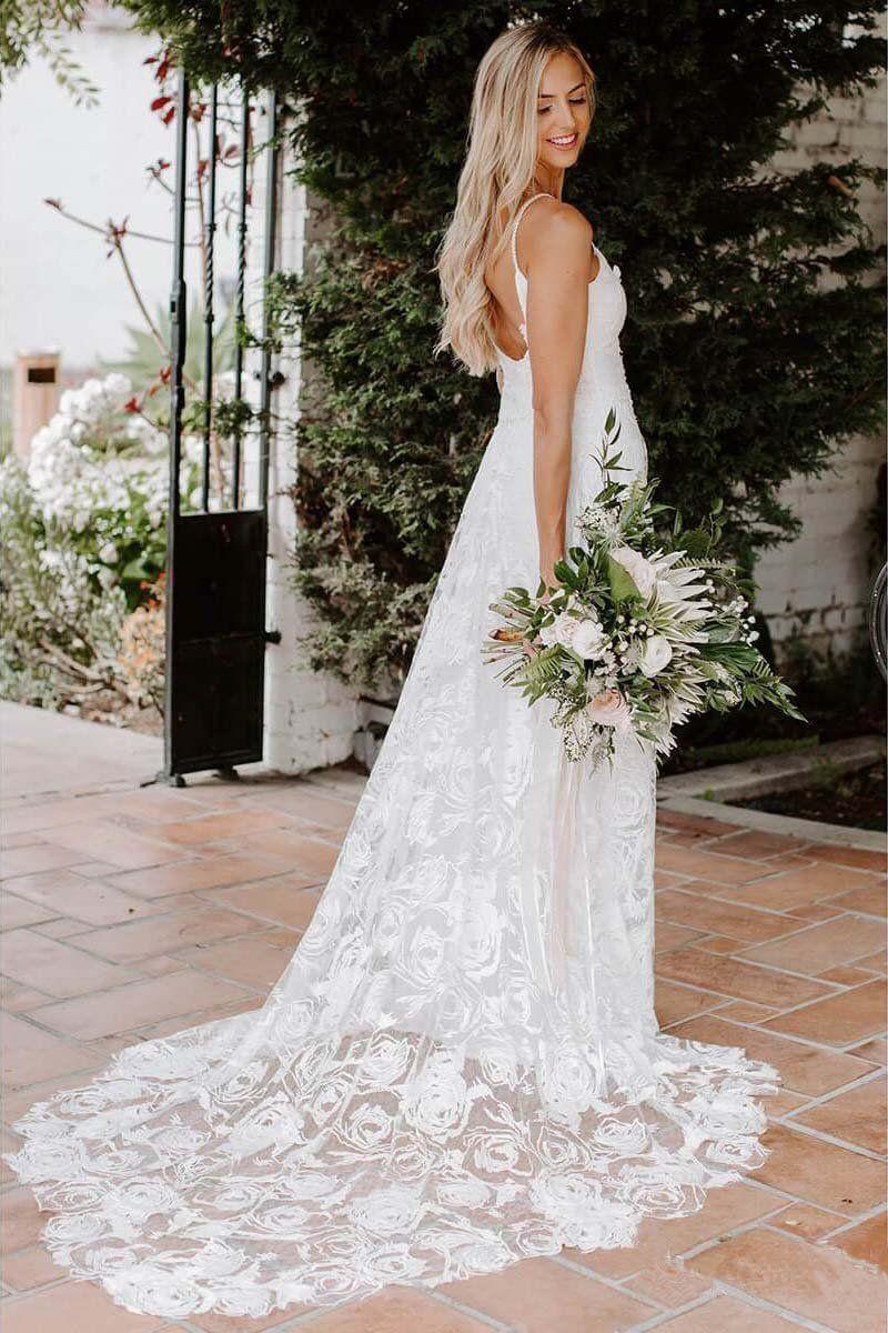 Rose Lace Sweetheart Boho Wedding Dresses Spaghetti Strap