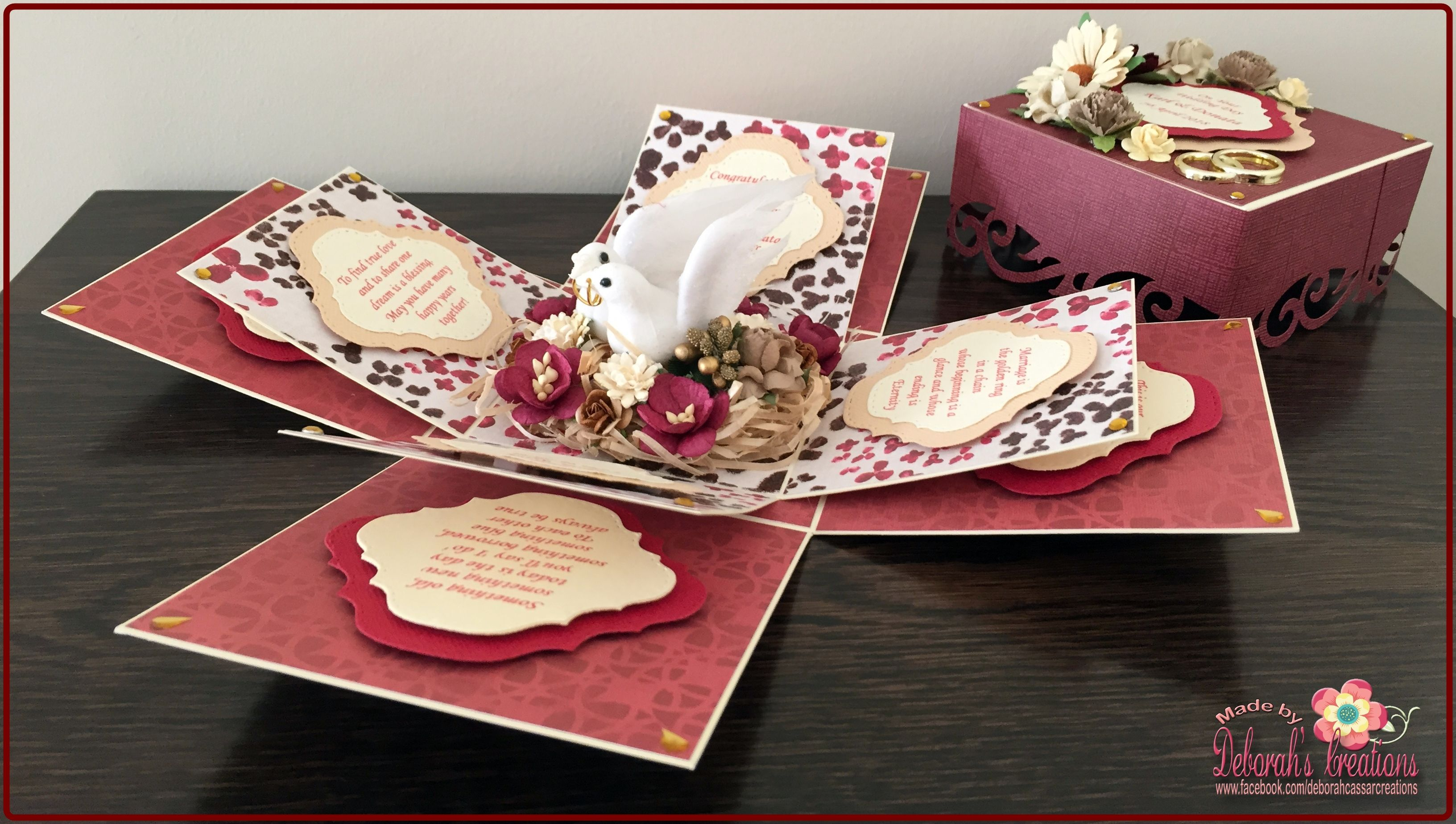 A Wedding with doves and Maroon/Creme Theme Exploding Box Card ...