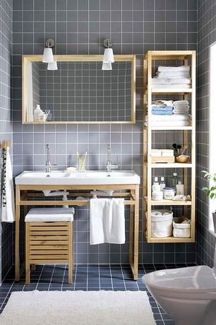Contemporary 3 4 bathroom with console sink molger storage stool molger shelving unit west - West elm bathroom storage ...