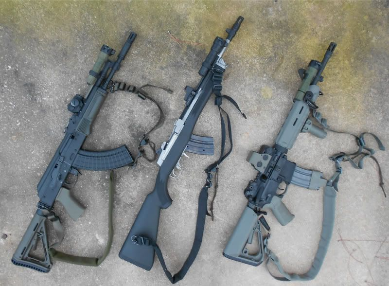 AK with AR MOE stock on adapter, AimPoint mini clone, and
