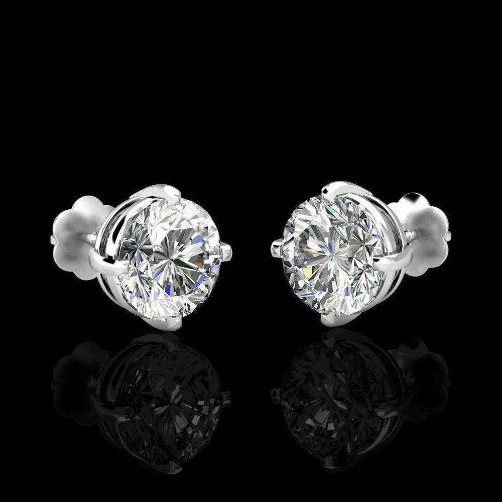 14k White Gold Round White Topaz Screw-back Stud Earrings
