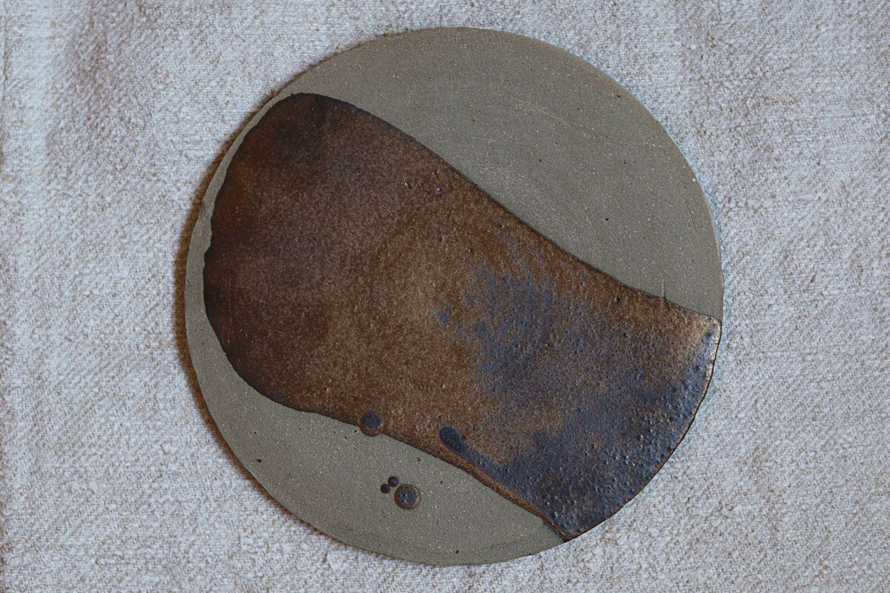 Janaki Larsen Circular Cheese Plate with Metallic Glaze