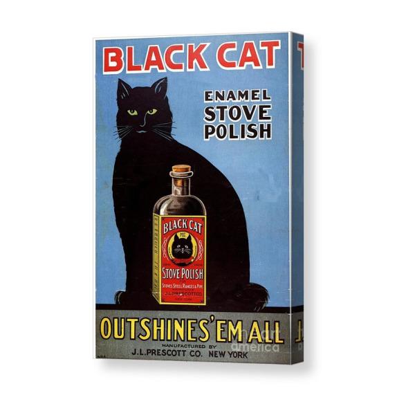 Black cat enamel stove polish retro vintage style metal wall plaque sign