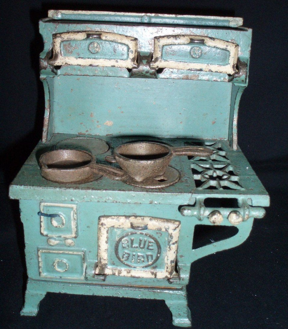 Antique Toy Blue Bird Cook Stove Cast Iron with Burners and Pots ...