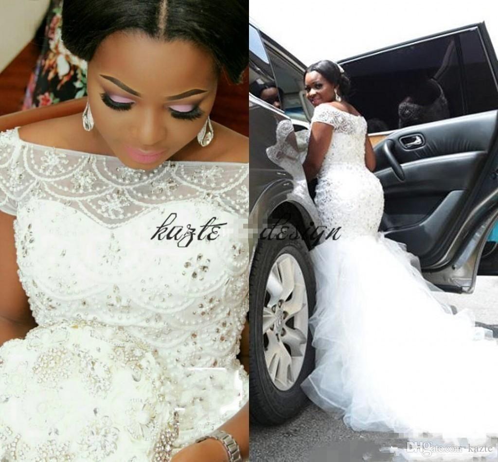 6942f05dc85 Plus Size Nigerian Mermaid Wedding Dresses 2018 Modest Luxury Crystal  Ruffles Skirt South African Fishtail Bridal Reception Wedding Gown Mermaid  Wedding ...