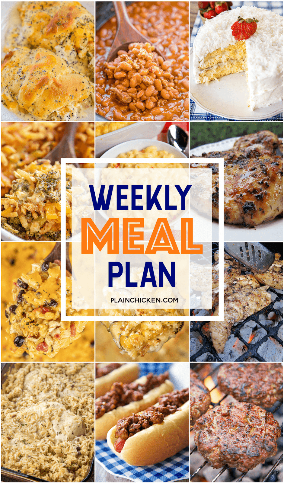 What's For Dinner Weekly Meal Plan   Plain Chicken®   Week meal ...