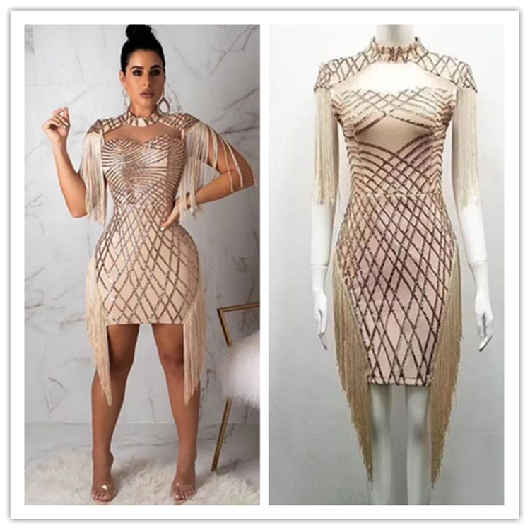 51d5afbfa0a3 2019 Valentine Party Apricot Sequin Tassel Sexy Bodycon New Club Bandage  Dress #women #dresses #trend #fashion #moda