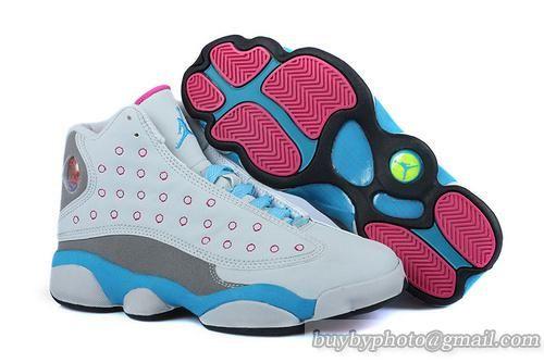 Women's Air Jordan 13 AJ13 Basketball Shoes GS-Miami Vice White Blue only US