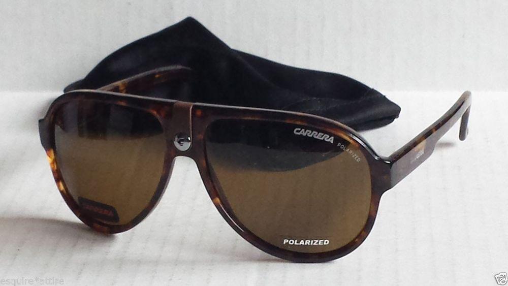 CARRERA men POLARIZED sunglasses brown aviator CARRERA 32 with bag