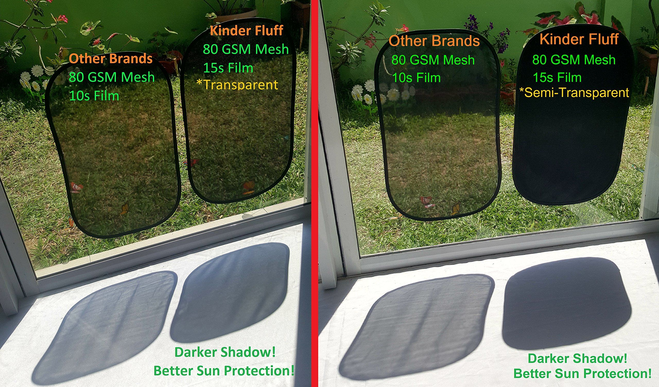 4px 80 GSM with 15s Film  for Full UV Protection kinder Fluff Car Sun Shade