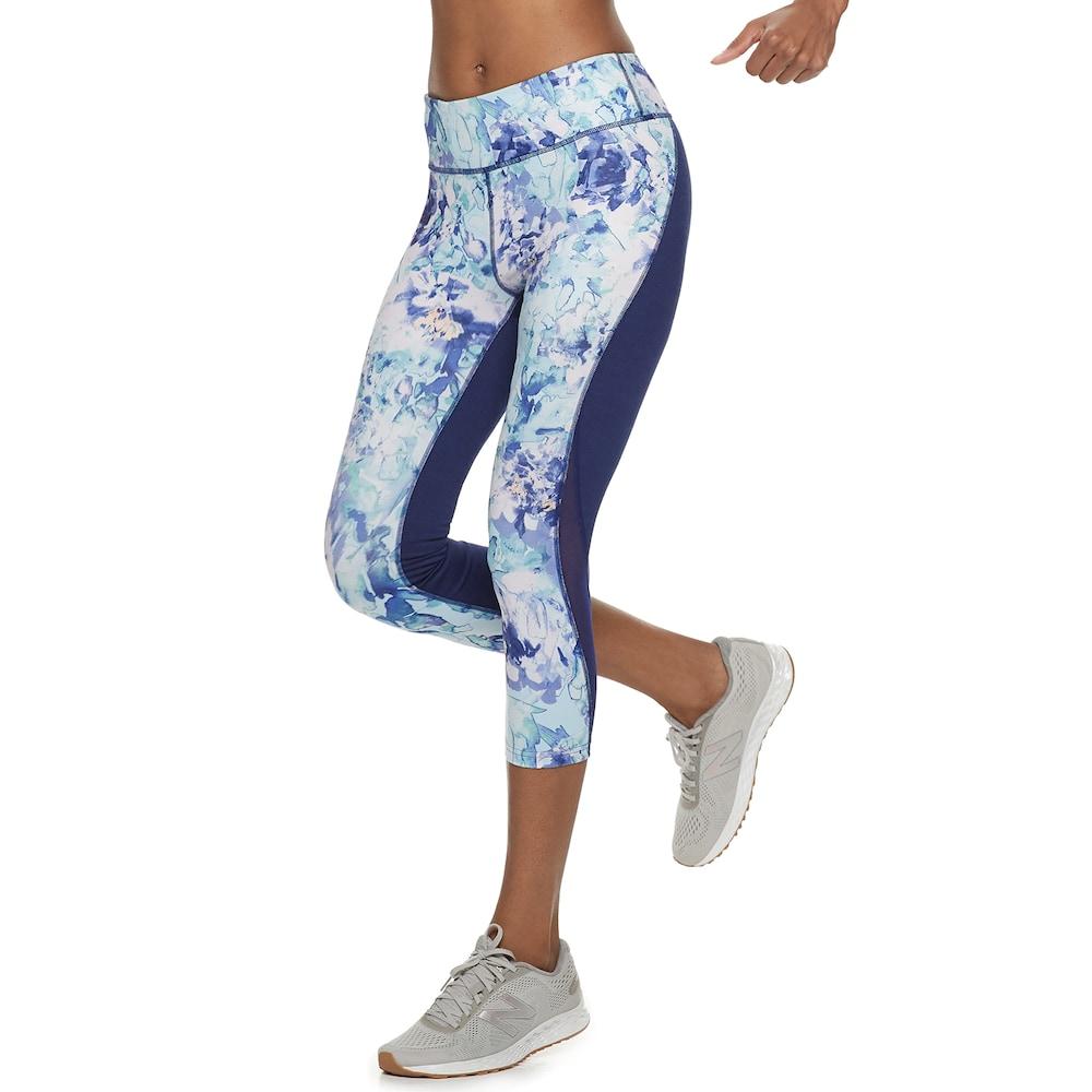 563b2fcf17cdfa Petite Tek Gear® Performance Mesh Insert Capri Leggings, Women's, Size: XL  Petite, Med Blue