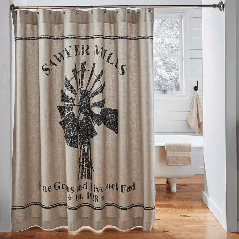 Sawyer Mill Shower Curtain Windmill Farmhouse shower